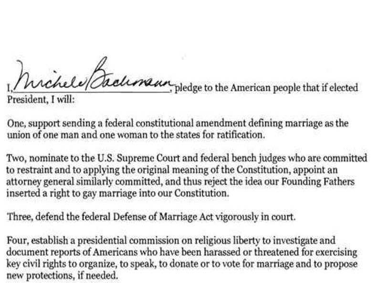 Romney, Bachmann, Santorum, Pawlenty sign NOM's anti-gay marriage pledge